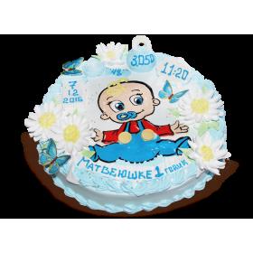 Детский торт с рисунком ребенка и ромашками