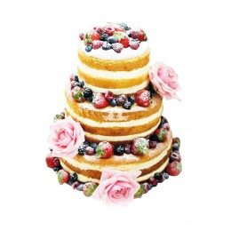 Торт свадебный с открытым бисквитом с бутонами роз и со свежими ягод