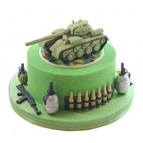 Торт на 23 февраля одноярусный с фигурой танка