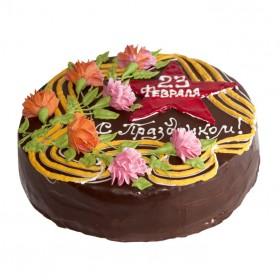 Торт на 23 февраля одноярусный кремовый