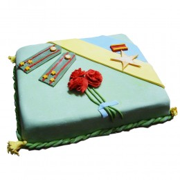 Торт на 23 февраля квадратной формы с пагонами