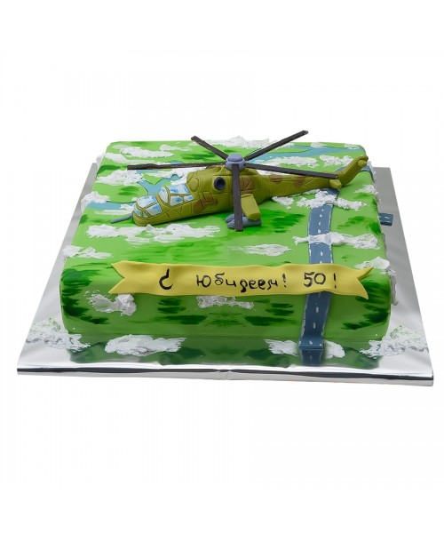 Торт на 23 февраля с фигурой вертолета