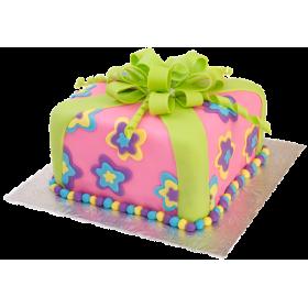 Детский торт в виде подарочной коробки с бантиком