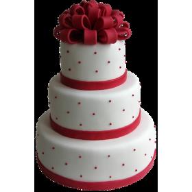 Торт Свадебный белый с красными бантиком и бусинками