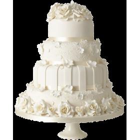 Торт Свадебный белоснежный с белыми розами