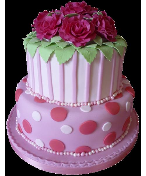 Свадебный торт в два яруса розового цвета украшенный цветами из мастики в темно ярком розовом цвете