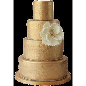 Золотистый четырехъярусный торт с цветком сбоку