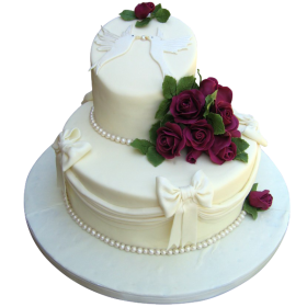 Белый двухъярусный свадебный торт с алыми розами и белыми бантами