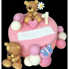 Детский торт на Годик девочке с медведями