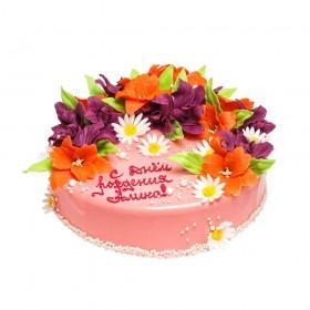 Торт на день рождения украшенный цветами